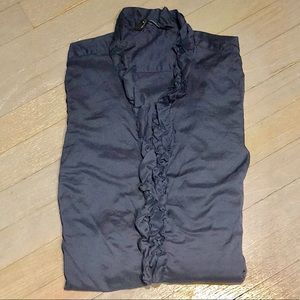 Zara Ruffle Neck Trim Tunic Button Down Blouse